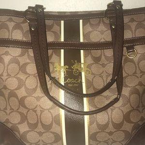 Coach purse Heritage striped canvas